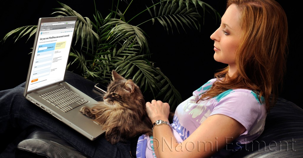 Beautiful Model with Norwegian Forest Cat