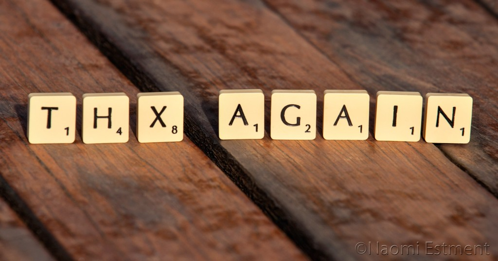 THX AGAIN Scrabble Letters